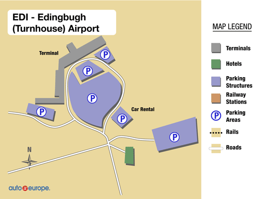 Mapa do Aeroporto de Edimburgo